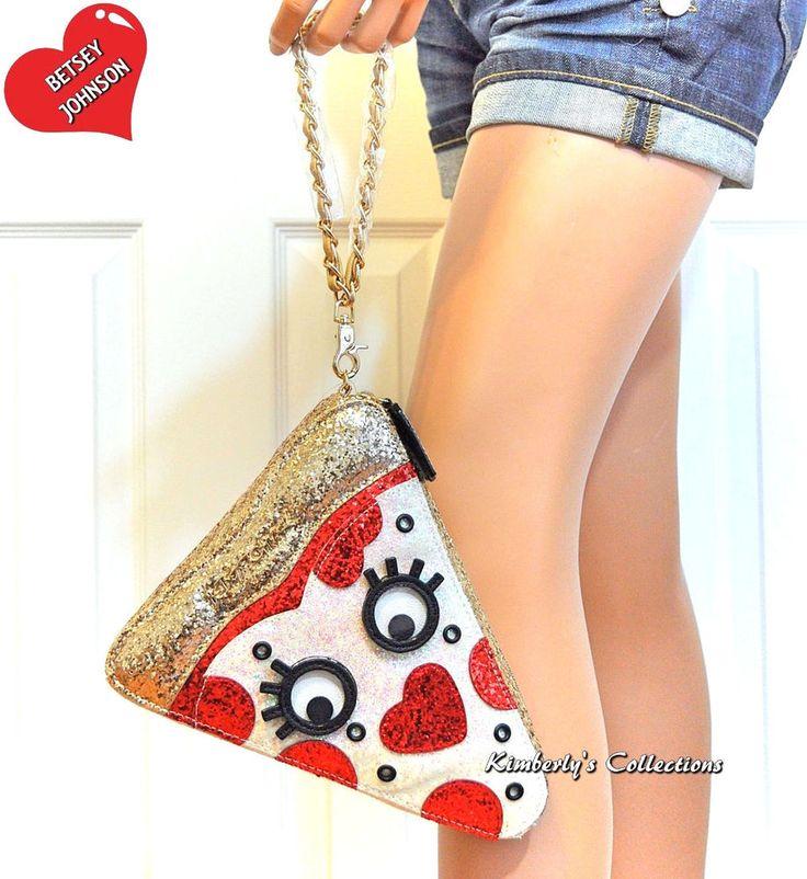 Betsey Johnson Kitsch Pizza Slice Wristlet Bag Phone Case Clutch Purse NWT | eBay