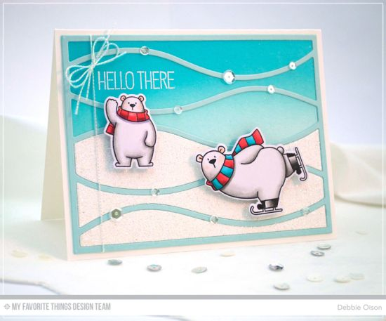 Polar Bear Pals Stamp Set and Die-namics, Horizontal Snow Drifts Cover-Up Die-namics - Debbie Olson  #mftstamps