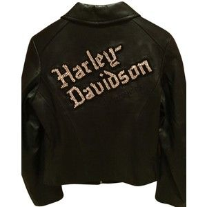 Pre-owned Harley Davidson Studded Diamond Embellished Leather Motorcycle Jacket
