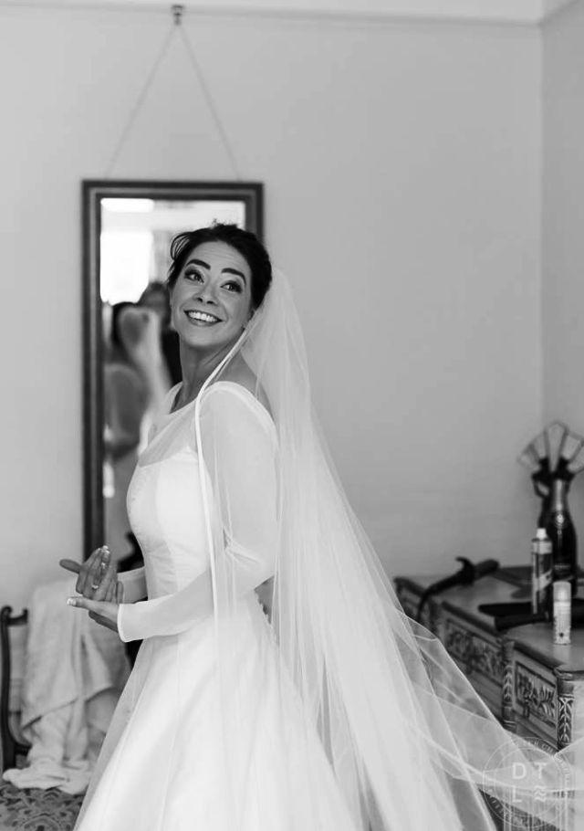 Real wedding: Bride wears elegant and simple A-line ivory bespoke wedding dress by Rachel Lamb Design #weddingdress #bespokeweddingdress