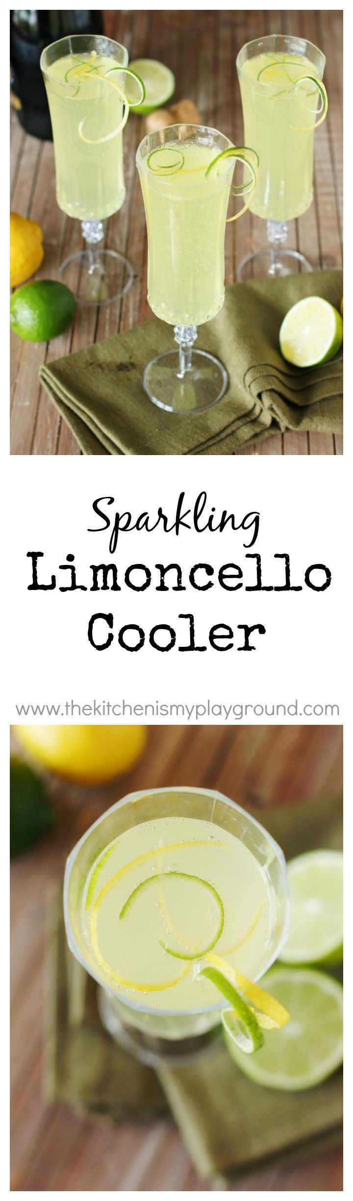 Sparkling Limoncello Cooler ~ A refreshing combination of fresh lime juice, Limoncello, & bubbly sparkling wine. #cocktails #happyhour #champagnecocktails www.thekitchenismyplayground.com #Sparkles