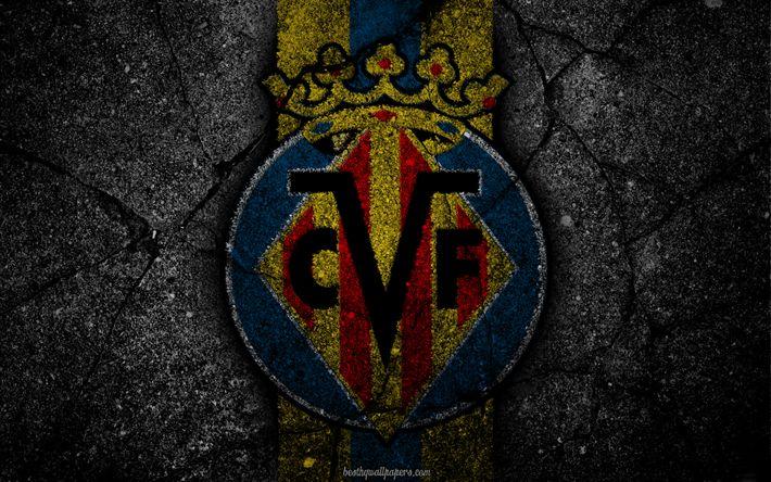 Télécharger fonds d'écran Villarreal, le logo, l'art, La Liga, football, club de football, LaLiga, grunge, Villarreal FC
