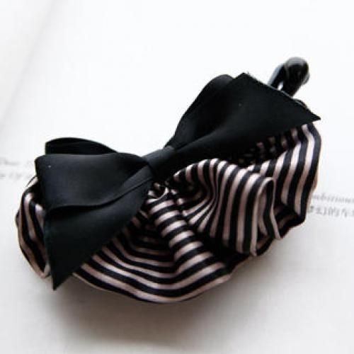 Striped-Trim Ribbon Hair Clamp Black - One Size