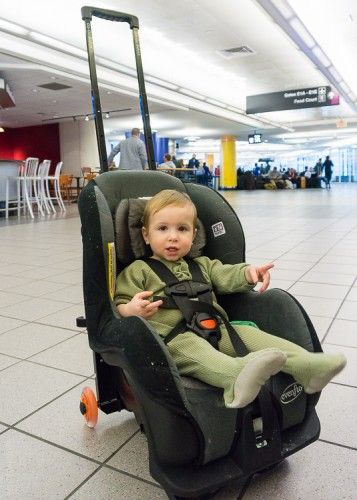 11 Tips on Travel with a Toddler: I highly recommend you invest in this wheelie attachment for your convertible car seat.