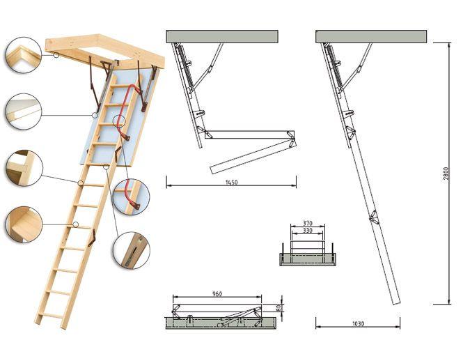 Schody strychowe EXTRA 3 segmentowe