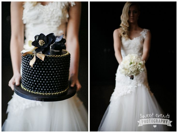 Old Hollywood glam styled shoot. Glamorous black and gold wedding at Bracu by Sweet Events Photography
