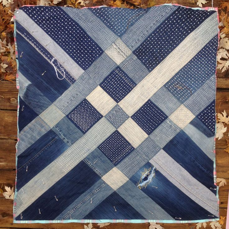 pattern giant pin blue from denim upcycled jeans quilt quilts