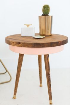 DIY Mid Century Side Table, made from a cake pan