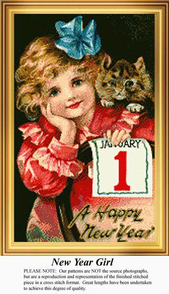 New Year Girl, New Year's Counted Cross Stitch Pattern, Kit and Downloads, #pinterestcrossstitch #pinterestgifts