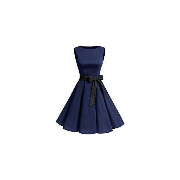 Gardenwed Women's Vintage 1950s Rockabilly Audery Swing Dress... ❤ liked on Polyvore featuring dresses, blue vintage dress, retro prom dresses, retro vintage dresses, sleeveless swing dress and retro swing dress