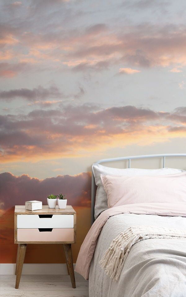 Create A Beautifully Serene Space With These Sunset Wallpaper Ideas For A Cute Girly Bedroom Th Cloud Wallpaper Bedroom Wallpaper Bedroom Feature Wall Bedroom