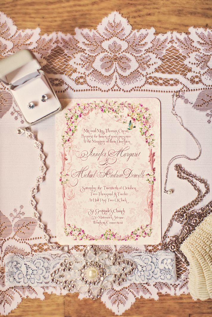 Vintage Pink Wedding in Connecticut | OneWed love this invitation.