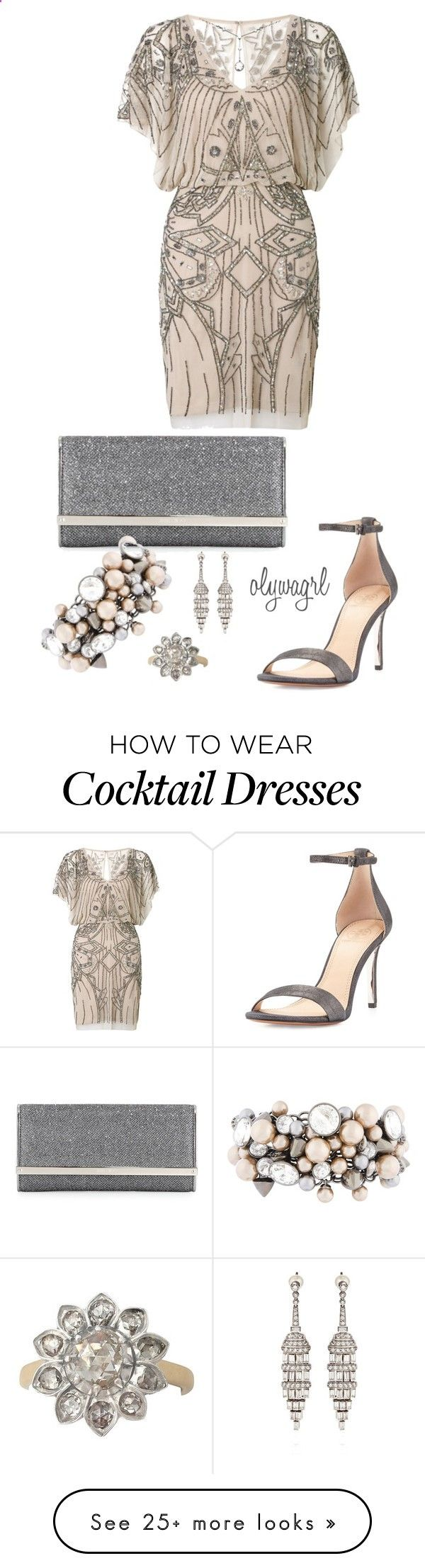 Deco Inspired by olywagrl on Polyvore featuring moda, Aidan Mattox, Tory Burch, Jimmy Choo y Henri Bendel