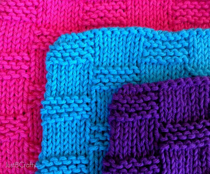 Basket Weave Dishcloth Pattern |Just B Crafty