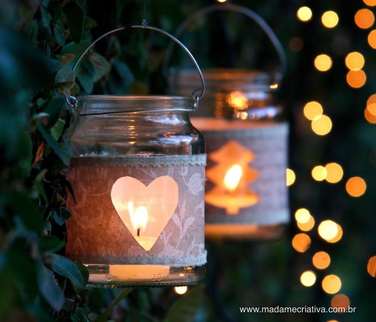 How to make glass lantern - Step by step with pictures - How to make lantern using a glass jar - DIY tutorial - Madame Creative - website is in Portuguese, if you use Google Chrome, you can automatically have it translate - any site - to English, which I did, so you can see what this is about.