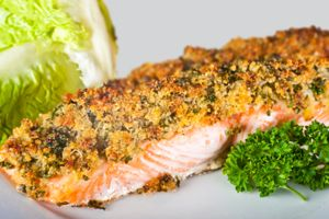 Pistachio-Dusted Salmon with Avocado and Black Olive Oil