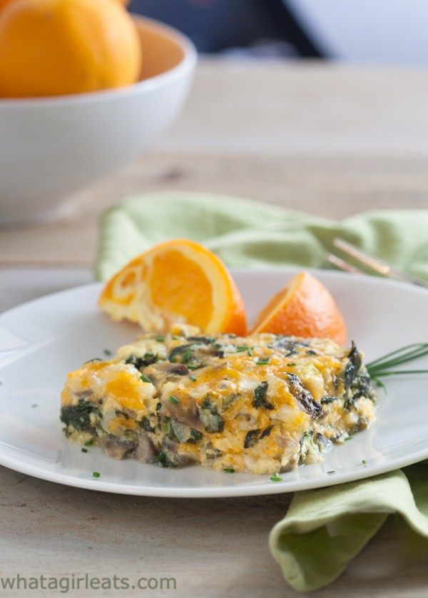 Spinach and mushroom breakfast casserole is low-carb and high protein. Gluten free and vegetarian.
