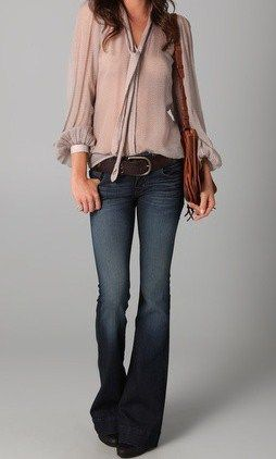 love the flare jeans and pretty blouse