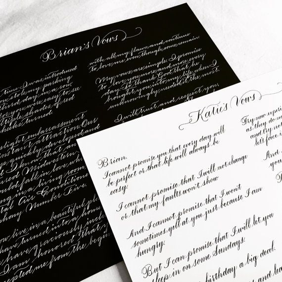 Commemorate Your Special Day With A Custom Hand Scripted Rendition Of Wedding Vows