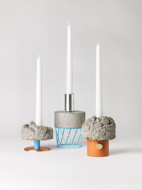 David Taylor - candlesticks made in concrete, brass, bakelite, leather silver and various other materials.