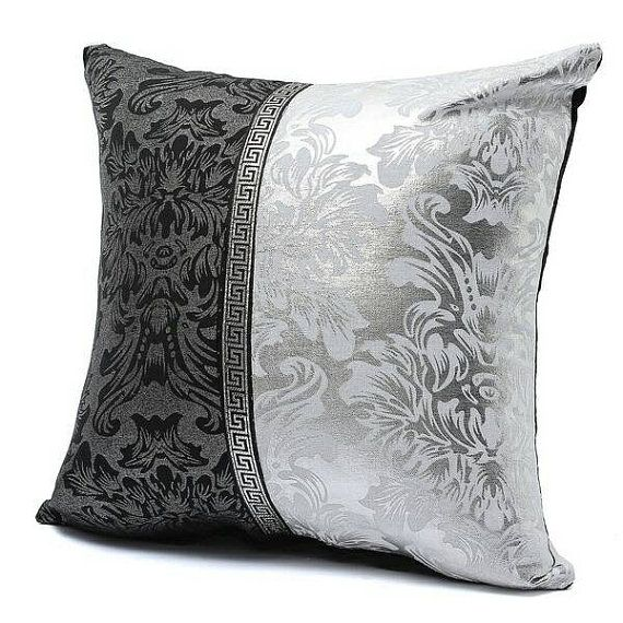 Black And Silver Decorative Pillows : STUFFED 2/4 Black SILVER Throw Pillow Metallic by PaesanoPillows PaesanoPillows Pinterest ...