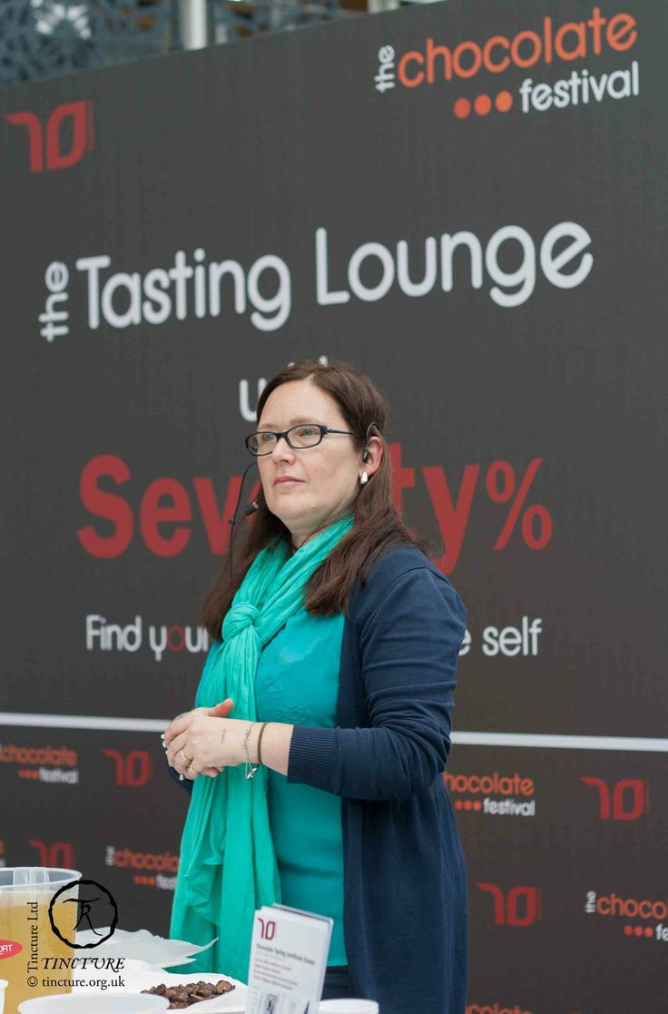 Monica Meschini at the Tasting Lounge at The Chocolate Festival, 2014, London (photo by Tincture Ltd)