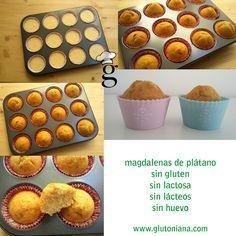 Magdalenas de plátano SIN GLUTEN, SIN LACTOSA, SIN LÁCTEOS, SIN HUEVO