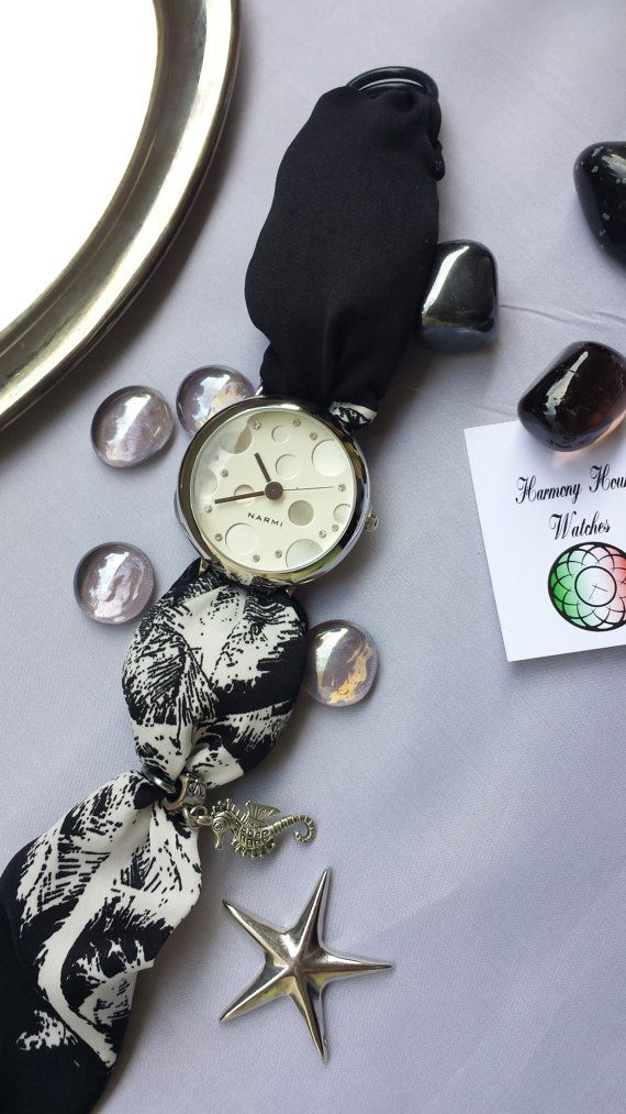 Women Wrist Watch Fashion Black White Silk by HARMONYHOURWATCHES
