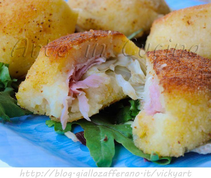 Bomboloni di patate salati ripieni con carciofi e asiago, ricetta facile, secondo sfizioso, finger food per feste e buffet, ricetta semplice con patate, antipasto