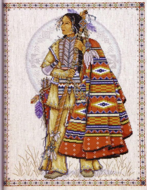 Pattern is on another person's board at:  https://www.pinterest.com/rumpusmeow/cross-stitch-native-american/