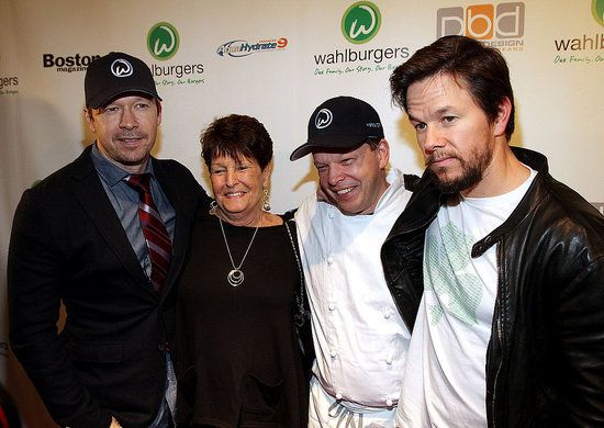 .Mark Wahlberg joined his mother Alma Elaine Wahlberg, and his two brothers Donnie and Paul Wahlberg at the grand opening of their new hamburger restaurant, Wahlburgers, in Hingham, MA yesterday. The famous family has the perfect name for a burger joint, and Paul will serve as the chef at what is sure to be a hot spot in Beantown.