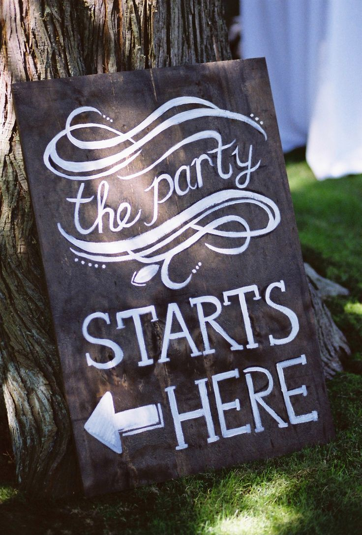 Sign informing guests where to enter for private party