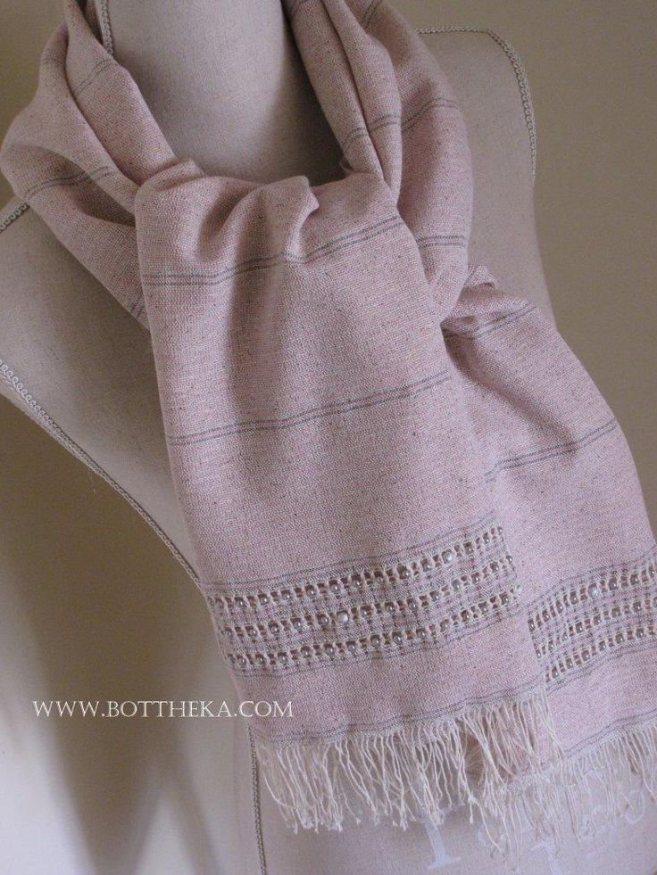 Cherry Blossom striped-beaded silk shawl with ajour decoration - silk, cotton, yarn, weaving. stole, ito, pearl, stainless steel, ajour - http://bottheka.com/en/pearl-silk-stainless-steel