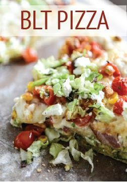 Make this BLT Pizza with Grilled Corn & Crumbled Feta for a yummy specialty pizza for dinner!