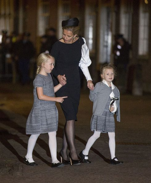 Princess Mabel of the Netherlands and daughters Countess Luana (L) and Countess Zaria (R) leave a memorial service for Prince Friso of The Netherlands who passed away in 12 Aug 2013 following a skiing accident in Feb 2012, on 02.11.13 in Delft, Netherlands.