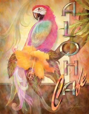 Aloha Cafe Alma Lee Hawaii Art Poster Print