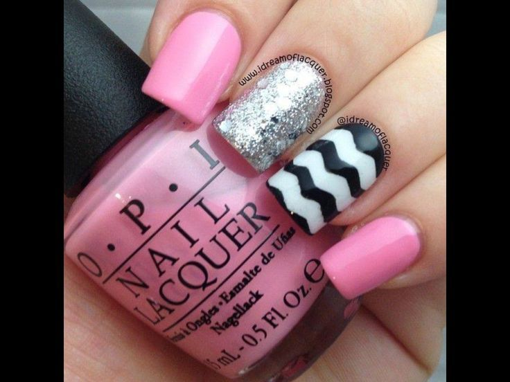 black white and silver nails   Black, white, pink and silver