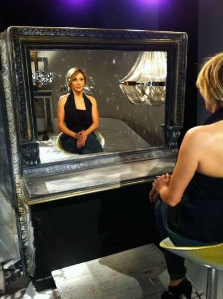 """Paola Minaccioni wears a total look Malloni during an interview fot the TV show """"allo specchio"""""""