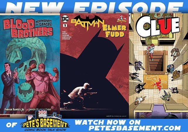 Pete's buddy Andrew Buzzetta joins the roundtable this week making his long-awaited Basement debut! They're talkin' classic toys classic cartoons and of course comics! IDW gives us a murder mystery to unravel in Clue the board game brought to the printed page. Alex De Campi's ex-marine turns merc for hire in Bankshot. Fabian Rangel Jr. the creator of Namwolf hits another home run with Blood Brothers and DC must be doing something right with these Looney Tunes crossovers: wait'll you hear…