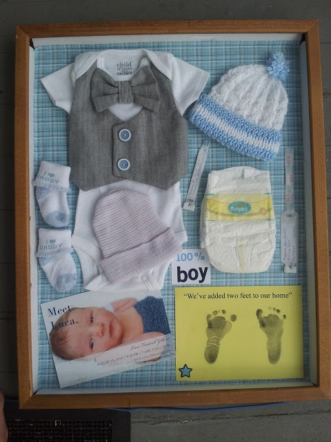 Newborn Baby Shadow Box- totally want to do this with Bella's stuff!