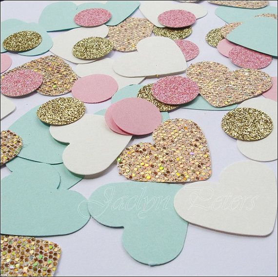 $14.00  - Party Table #Confetti, Shabby Chic Glitter Mix, #MintAndGold With Pink, Party Decorations, Weddings, #Showers by Jaclyn Peters Designs
