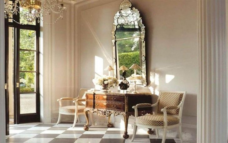 Mesmerizing Home Entryway Equipped With Elegant Chairs And Table With Awesome Large Mirror With Checkered Floor Interior Design Furniture Represents Your Personality Furniture