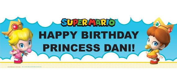 Super Mario Bros Babies Personalized Happy Birthday Banner 5ft, Mario Bros Baby Girl Princess Birthday Party Banner  These are great for a Child's Party!