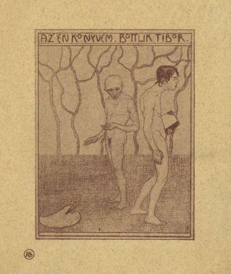 Bookplate by Tibor Bottik for  Bottlik Tibor, 1907c.