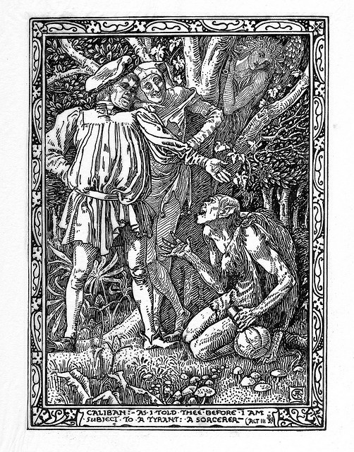 Caliban. Act 3. Scene II. Shakespeare's The Tempest, limited edition illustrations by Walter Crane, 1893