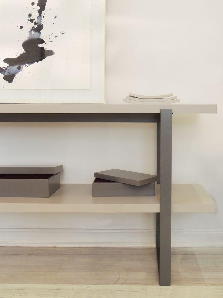 Consola Alicudi y cajas laqueadas en gris. #solsken www.solsken.com.ar