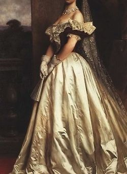 sentimientodivino:  ohsoromanov:  Empress Elisabeth of Austria painted in a gown designed by Charles Frederick Worth for her coronation as Queen of Hungary in 1867 (detail).  sissi3