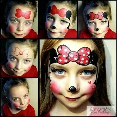 Step by step Minnie Mouse face paint design                                                                                                                                                                                 More
