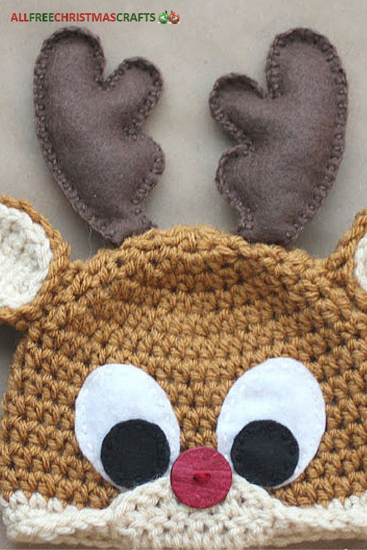 That red button nose is the cutest thing. What's not to love about this reindeer hat crochet pattern?