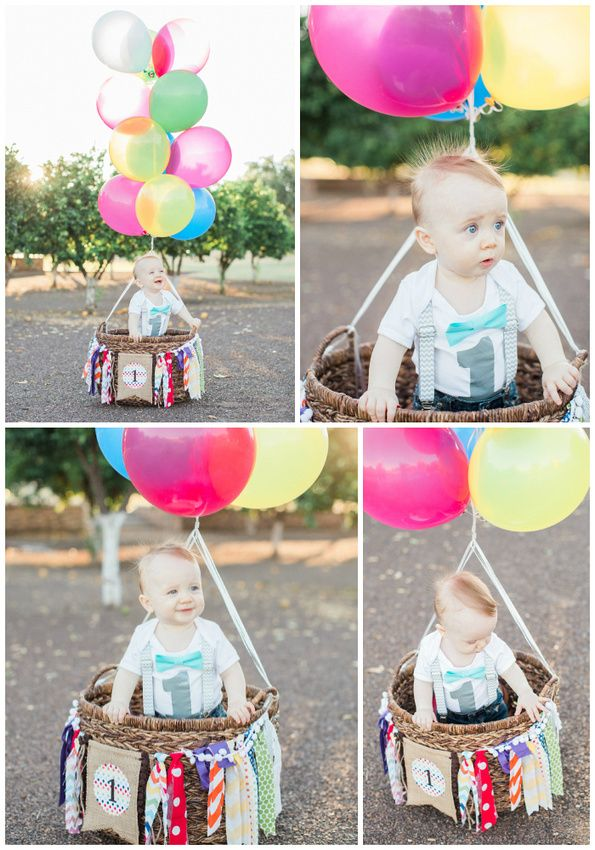 Hot Air Balloon First Birthday Photo Shoot By